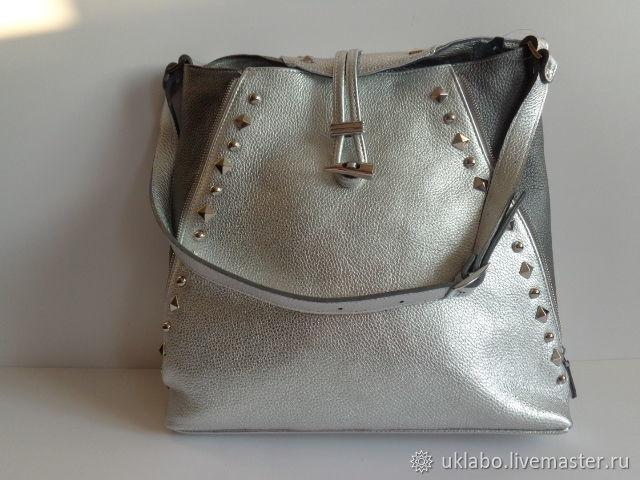 Сумка из итальянской  натуральной кожи. Матовое серебро, Классическая сумка, Москва,  Фото №1