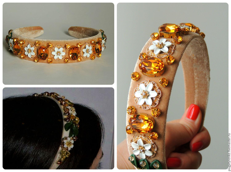 Купить Ободок для волос в стиле Дольче Габбана Citrus topaz - ободок для волос, ободок для девушки