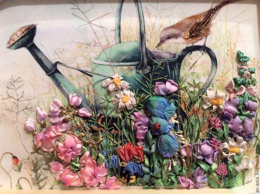 Картины цветов ручной работы. Ярмарка Мастеров - ручная работа. Купить Птичка на лейке. Handmade. Оливковый, картина с цветами