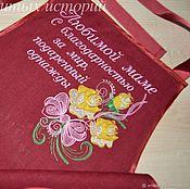 Подарки ручной работы. Ярмарка Мастеров - ручная работа Подарок маме на день рождения Фартук из льна с вышивкой Любимой маме. Handmade.