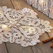 Для дома и интерьера handmade. Livemaster - original item Lace white napkin on the table. Handmade.