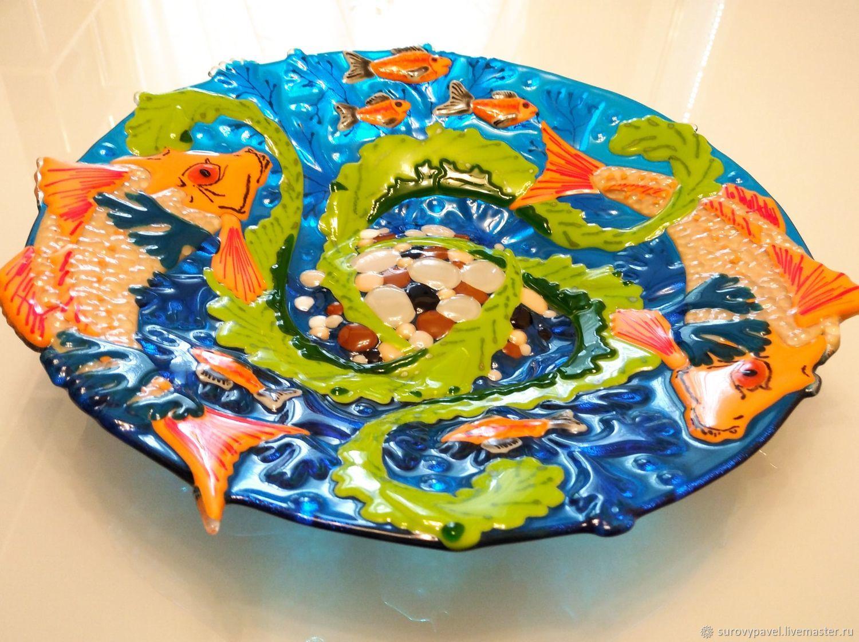 Dish 'Underwater world' glass-fusing, Dish, Tolyatti,  Фото №1