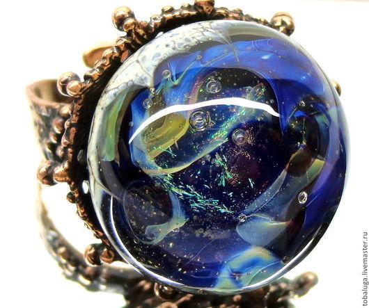Кольца ручной работы. Ярмарка Мастеров - ручная работа. Купить Кольцо Глубина океана лэмпворк. Handmade. Синий, кольцо лэмпворк
