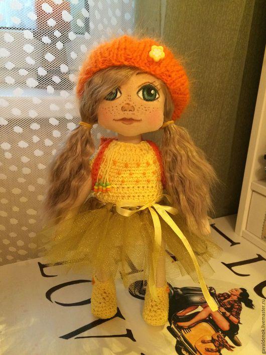 Коллекционные куклы ручной работы. Ярмарка Мастеров - ручная работа. Купить Кити. Текстильная кукла ручной работы. Handmade. Желтый