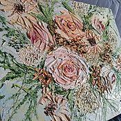 Картины ручной работы. Ярмарка Мастеров - ручная работа Картина рассвет весна бежевый  розовая цветы зеленая. Handmade.