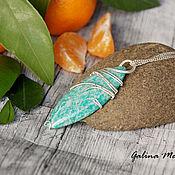 Украшения handmade. Livemaster - original item Pendant from silver and amazonite. Handmade.
