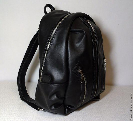 Рюкзаки ручной работы. Ярмарка Мастеров - ручная работа. Купить Рюкзак кожаный городской 19. Handmade. Черный, кожаный рюкзак