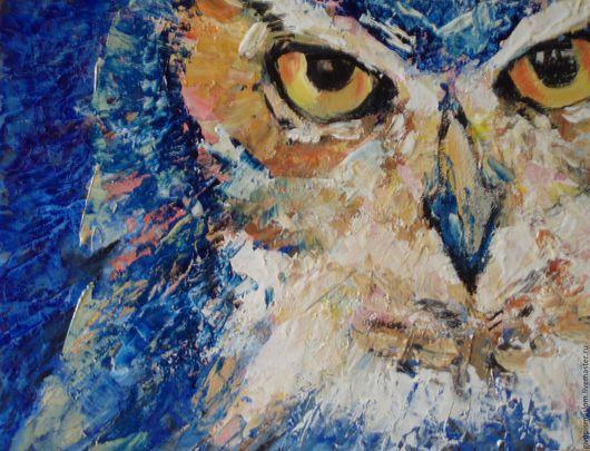 """Животные ручной работы. Ярмарка Мастеров - ручная работа. Купить """"Ночной страж"""". Handmade. Синий, картина маслом, подарок мальчику"""