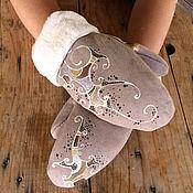 Аксессуары handmade. Livemaster - original item Cozy winter mittens women Gift her lined mittens warm Black sheepskin. Handmade.