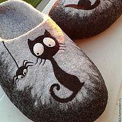 """Обувь ручной работы. Ярмарка Мастеров - ручная работа Мужские Тапочки валяные  """" Лунный кот"""". Handmade."""