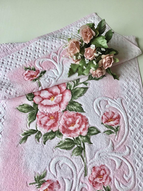 Махровое полотенце «Розовый Букет» с набивным рисунком. Италия, Полотенца, Санкт-Петербург,  Фото №1