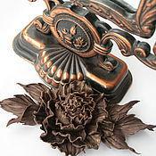 """Брошь-булавка ручной работы. Ярмарка Мастеров - ручная работа Брошь из кожи """"Калипсо"""".Цветы из кожи, броши из кожи, роза из кожи. Handmade."""