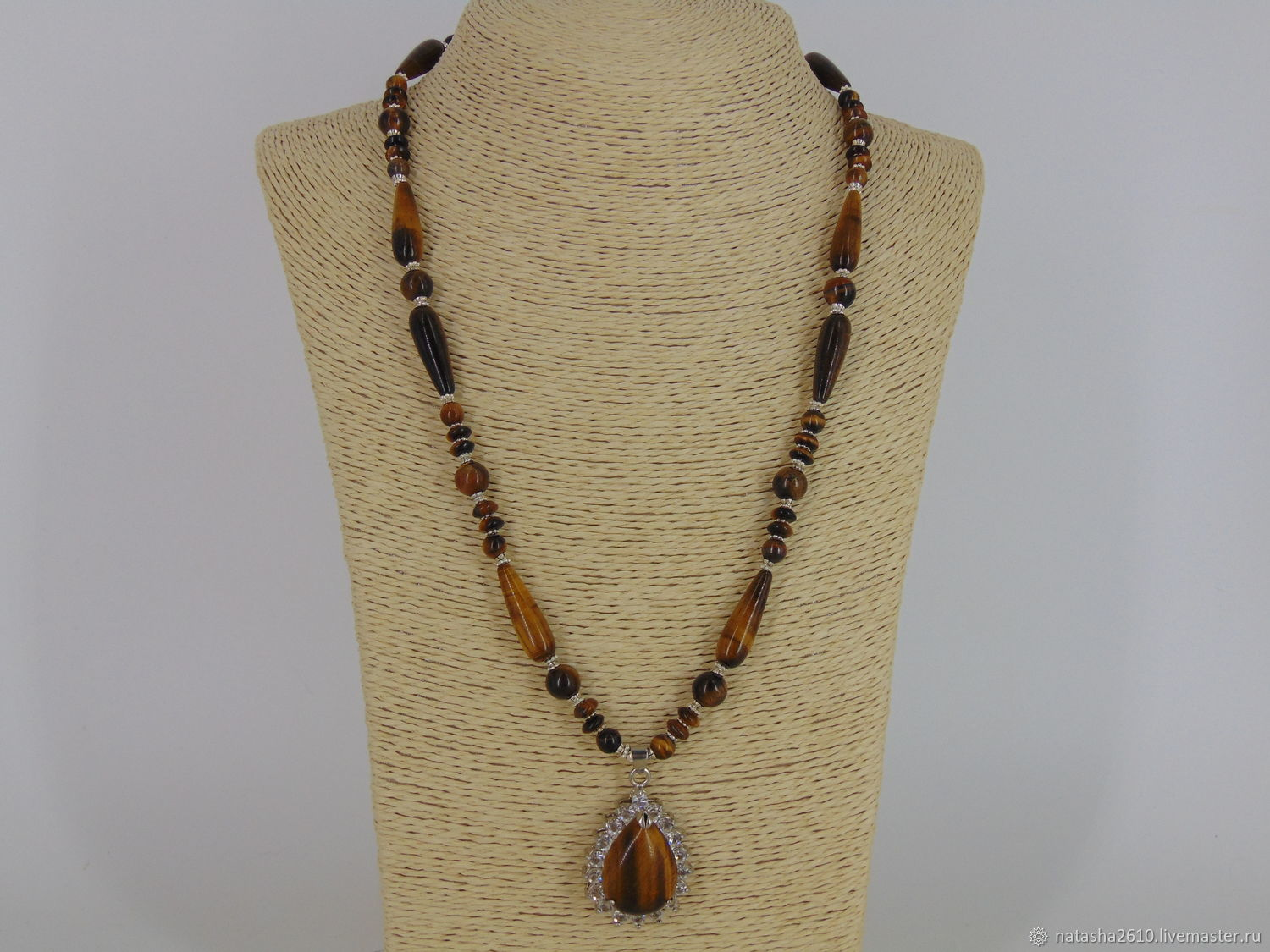 Necklace with pendant made of natural stones tiger's eye 'Compliment', Necklace, Velikiy Novgorod,  Фото №1