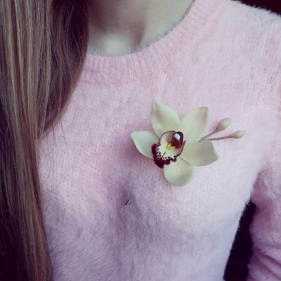 Брошь с орхидеей, Брошь-булавка, Липецк,  Фото №1