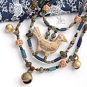 """""""Птица счастья"""" ожерелье. Керамика, римское стекло, лабрадорит"""