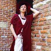 Одежда ручной работы. Ярмарка Мастеров - ручная работа Кардиган вязаный в цвете марсала. Handmade.