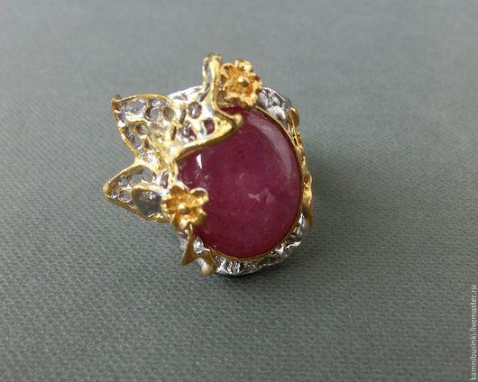 Кольца ручной работы. Ярмарка Мастеров - ручная работа. Купить 17 р-р кольцо рубин серебро 925 пробы золото. Handmade.