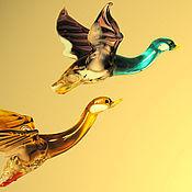 Для дома и интерьера ручной работы. Ярмарка Мастеров - ручная работа Интерьерное стеклянное украшение  -  птица  Утка. Handmade.