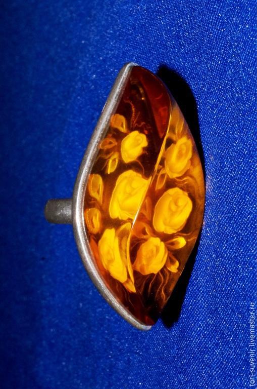 Кольца ручной работы. Ярмарка Мастеров - ручная работа. Купить Крупное объемное кольцо с янтарем. Инталия.. Handmade. Оранжевый