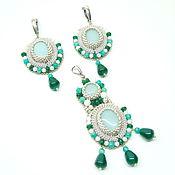 Украшения handmade. Livemaster - original item blue-green pendant and earrings beaded with amazonite early spring. Handmade.