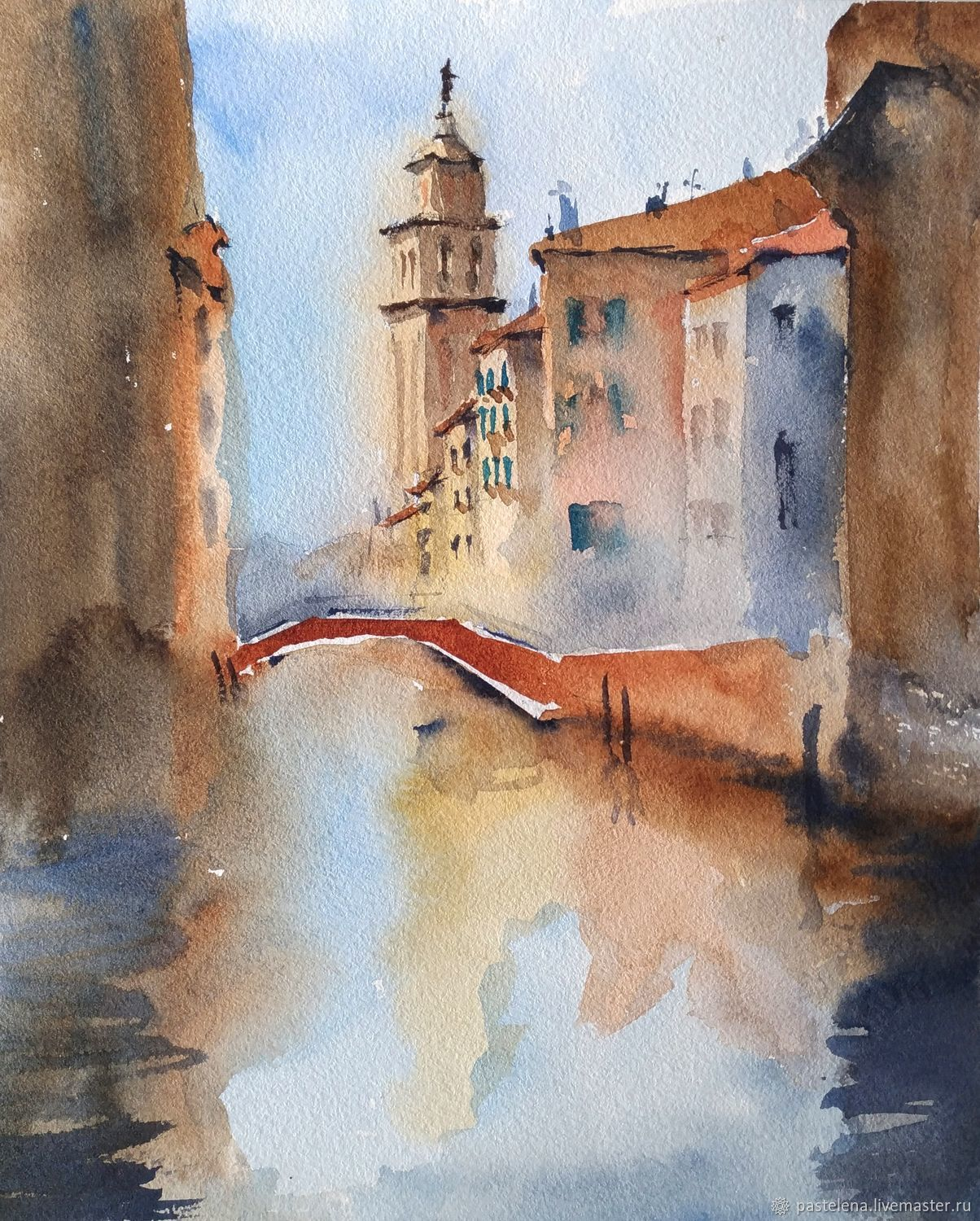 Diptych in watercolour Venice (channels brick blue painting), Pictures, Yuzhno-Uralsk,  Фото №1
