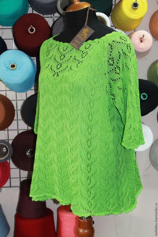 Блузки ручной работы. Ярмарка Мастеров - ручная работа. Купить Блузка #82 вязаная из 100% итальянского хлопка. Handmade. Блузка