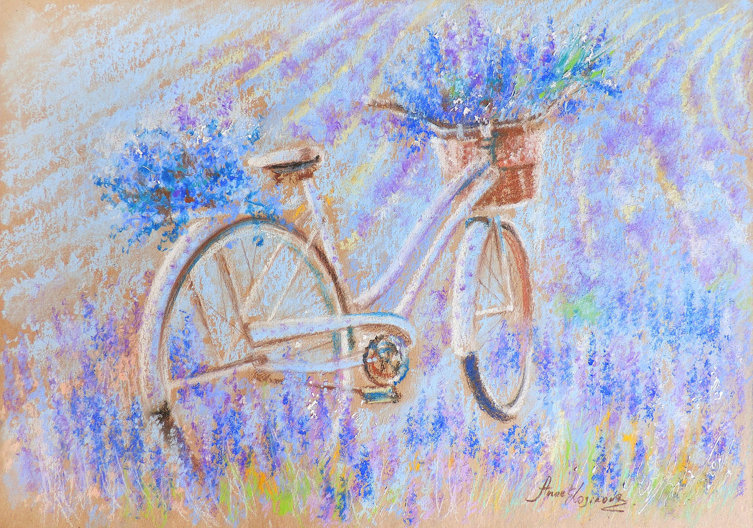 Violet dawn - painting with pastels, Pictures, Moscow,  Фото №1