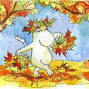 Картины и панно ручной работы. Ярмарка Мастеров - ручная работа Осенний танец Фрекен Снорк. Handmade.