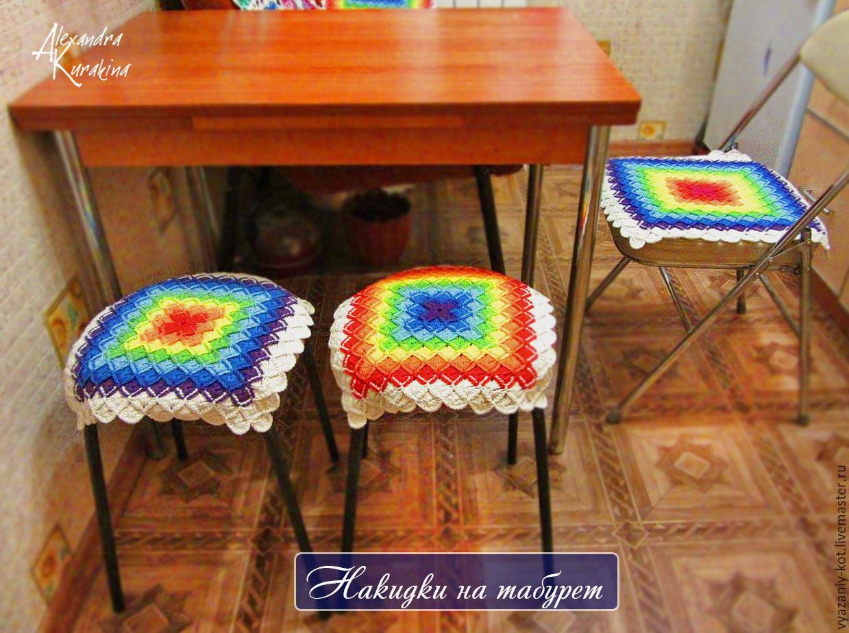 Декоративные сидушки для стула крючком. Схемы Knit crochet 24