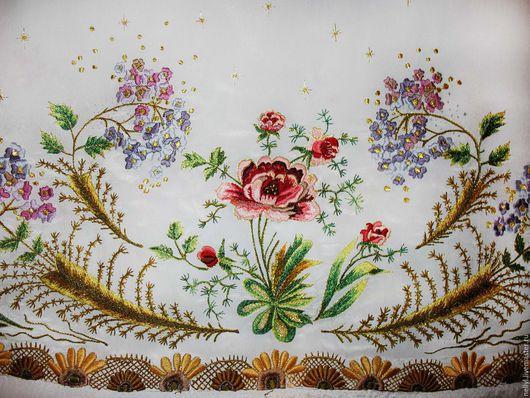 Текстиль, ковры ручной работы. Ярмарка Мастеров - ручная работа. Купить Бордюр-вышивка в стиле шебби-шик по низу изделия (любого). Handmade.