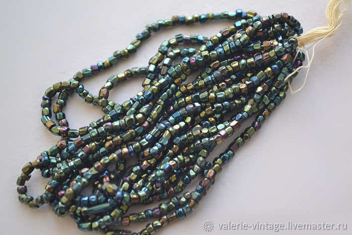 Antique Bohemian green Iris beads, Beads, Moscow,  Фото №1