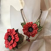 """Украшения ручной работы. Ярмарка Мастеров - ручная работа Комплект из кожи """"Любимый цветок"""". Handmade."""