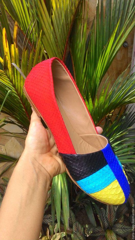 Обувь ручной работы. Ярмарка Мастеров - ручная работа. Купить Лоферы комбинированные. Handmade. Комбинированный, лоферы из питона, балетки из питона
