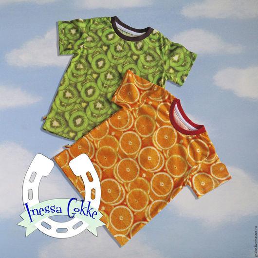 Одежда унисекс ручной работы. Ярмарка Мастеров - ручная работа. Купить Фруктовые футболочки. Handmade. Апельсиновый, детская футболка