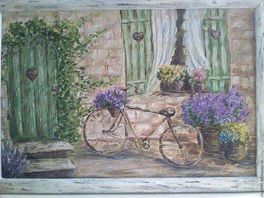 Город ручной работы. Ярмарка Мастеров - ручная работа. Купить Цветущий дворик. Handmade. Комбинированный, дворик, лаванда, масло