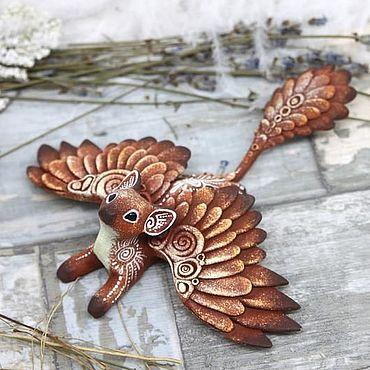 Для дома и интерьера ручной работы. Ярмарка Мастеров - ручная работа Крылатая Кошка Лунный Странник, фигурка, статуэтка, скульптура. Handmade.