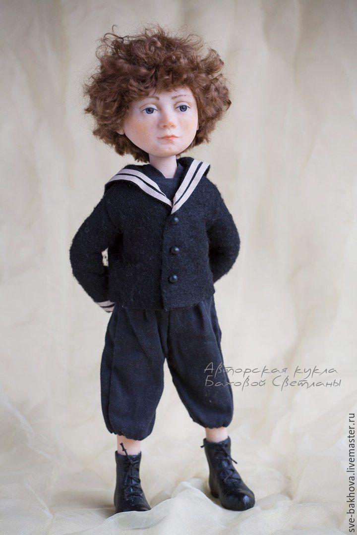 коллекционная кукла Мальчик в матросском костюме Чёрный ретро, Куклы и пупсы, Санкт-Петербург,  Фото №1