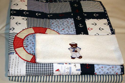 Пледы и одеяла ручной работы. Ярмарка Мастеров - ручная работа. Купить Комплект в кроватку Эй, моряк. Handmade. Морской стиль