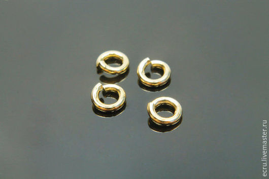 Колечки 4 мм соединительные, позолоченные, фурнитура Южная Корея