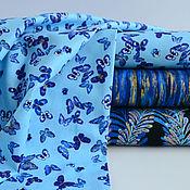 Ткани ручной работы. Ярмарка Мастеров - ручная работа Американский хлопок для шитья и рукоделия.Бабочки на голубом. Handmade.