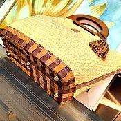 Сумки и аксессуары handmade. Livemaster - original item bag: Solar Taxi Genuine Leather Cotton Handles Wood Knitted. Handmade.