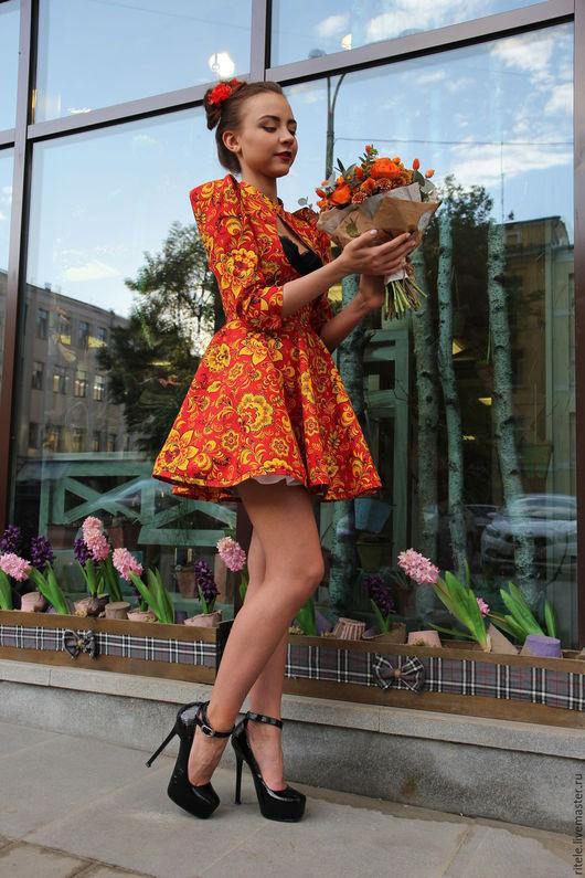 """Платья ручной работы. Ярмарка Мастеров - ручная работа. Купить Платье """"Хохлома"""". Handmade. Вечерний наряд, платье, ярко-красный"""