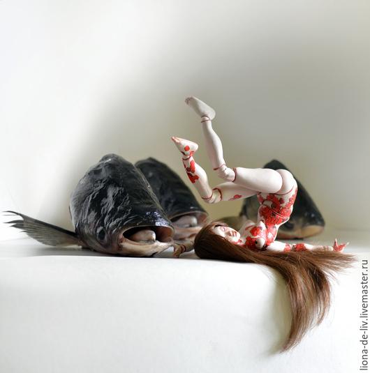 """Коллекционные куклы ручной работы. Ярмарка Мастеров - ручная работа. Купить Фарфор """"КОИ"""". Handmade. Ярко-красный, кукла"""