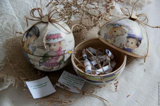 """Подарки для влюбленных ручной работы. Ярмарка Мастеров - ручная работа. Купить Ретро шар-шкатулка """"Влюблённые"""" (15 причин почему я тебя люблю). Handmade."""