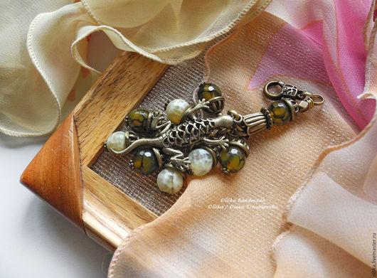 Брелок двухцветный Ящерка, агаты, брелок для ключей на ключи на джинсы для машины ollika handmade, ollika Ольга Дмитриева