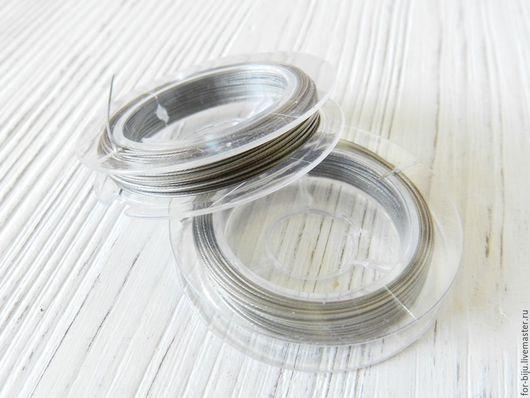 Ювелирный тросик, ланка, материал сталь, ЦВЕТ СТАЛЬНОЙ, ТОЛЩИНА 0,45 ММ (арт. 1958)
