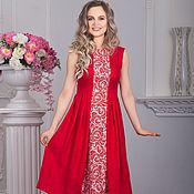 Одежда handmade. Livemaster - original item Dress linen red maiden. Handmade.