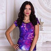 """Одежда ручной работы. Ярмарка Мастеров - ручная работа Женская футболка """"Галактика"""". Handmade."""