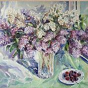 handmade. Livemaster - original item Lilac in a vase. oil painting 70h50. Handmade.