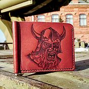 Сумки и аксессуары handmade. Livemaster - original item Leather money clip with pyrography